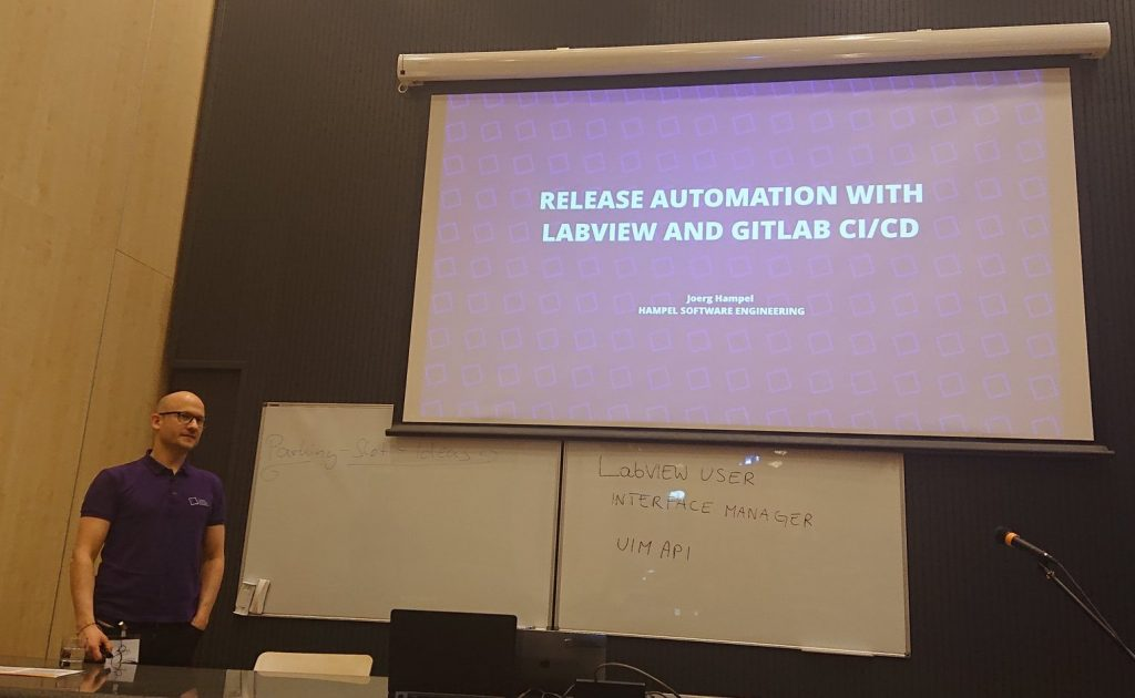 Presentation on Automated release distribution with LabVIEW and GitLab CI.
